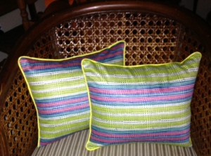 Multi-colored Pillows Button closed back using vintage buttons from my button box