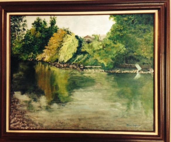 Russian River, Healdsburg, CA 25 x 30 Acrylic - Framed